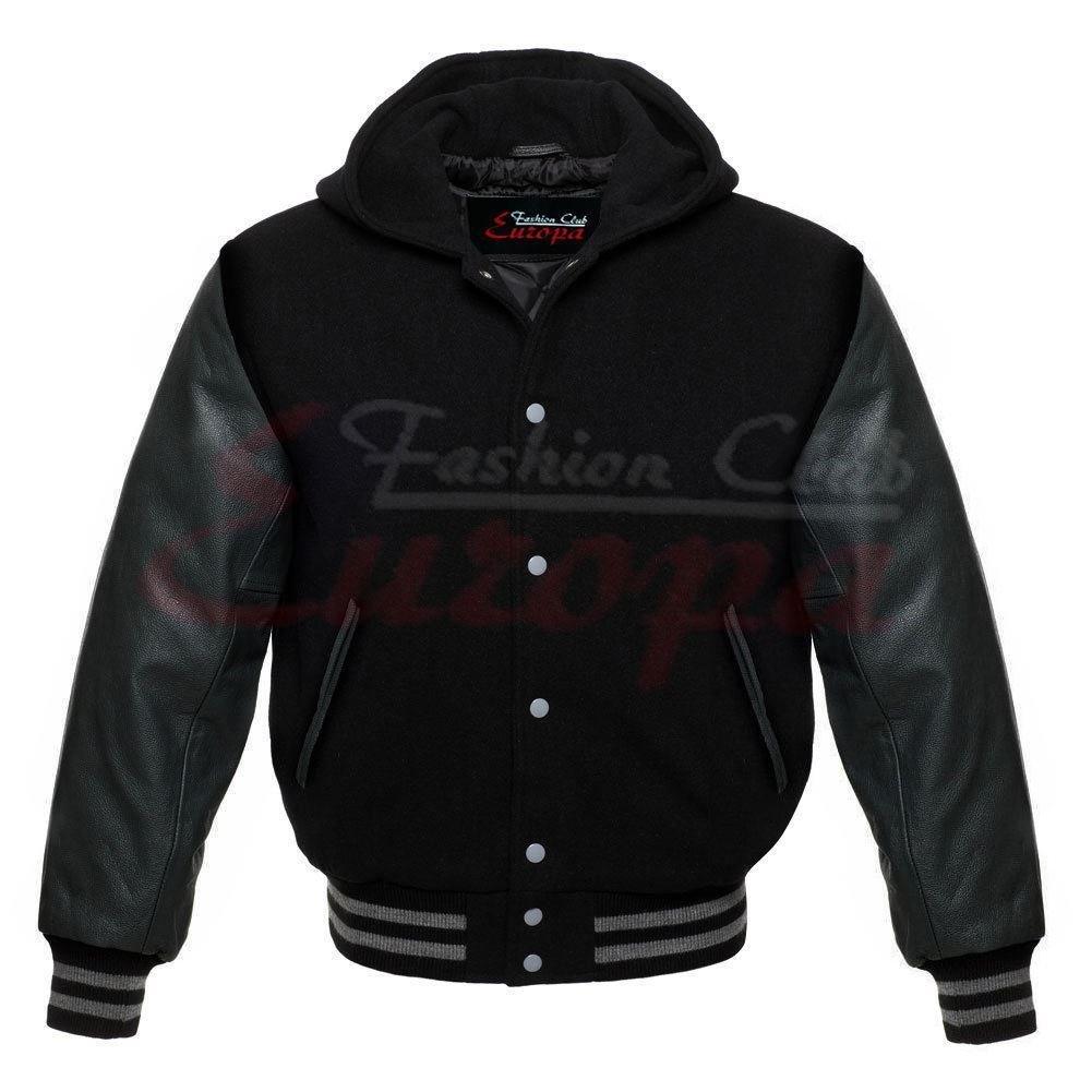 Men 's Varsity Realレザー袖/ウールLetterman Jacket W / Hoodすべてブラック新しいRegular ) L mx1_263175404555_D1 L レギュラー B07579VPGH