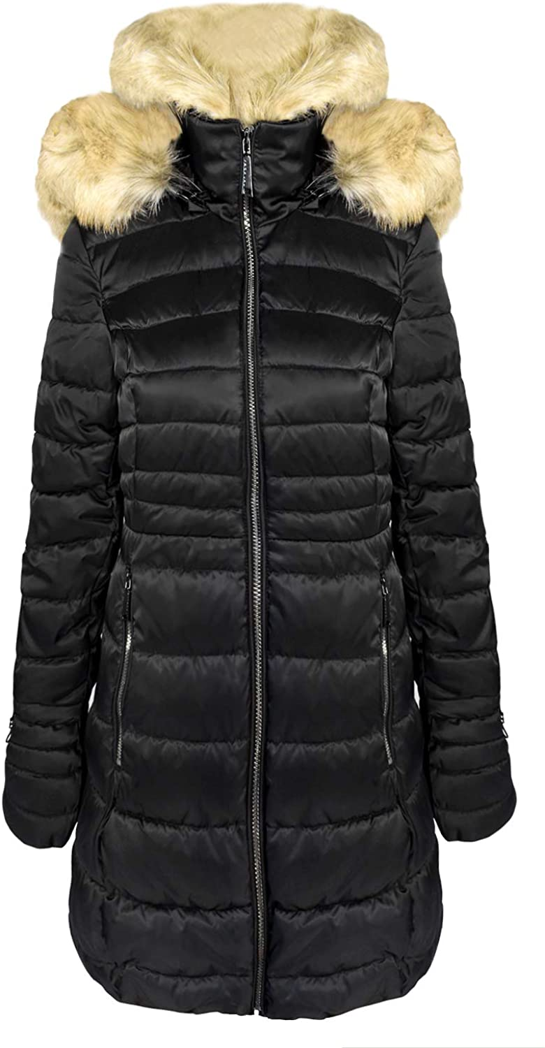 Segal Laundry by Shelli Women's Black Shiny Quilted Faux Fur Puffer Jacket Coat