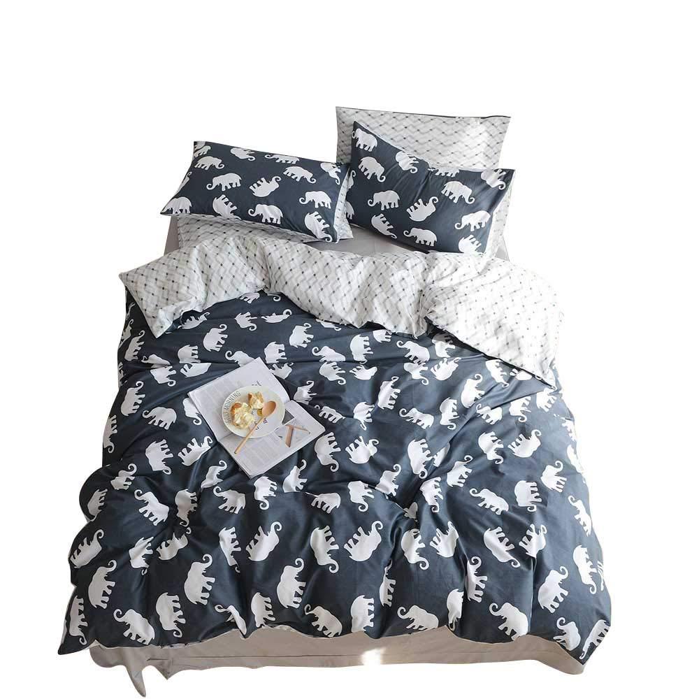 BuLuTu Elephant Print Kids Duvet Cover Sets Queen Cotton Reversible Bedding Cover Sets Full 3 Pieces Zip Zipper,Gifts for Boy,Girl,Teen,Friend,Women,Men,Family,NO COMFORTER,90''x90''