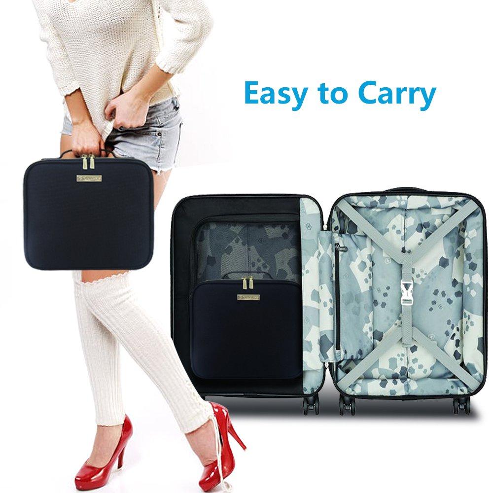 Travel Makeup Case,Samtour- Professional Cosmetic Makeup Bag Organizer,Accessories Case, Tools case (Black-M) by Chomeiu (Image #2)
