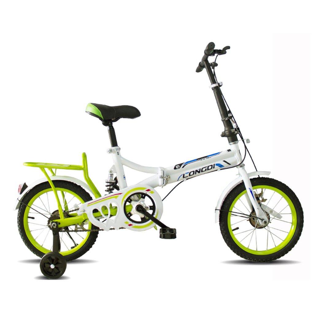 子供の折りたたみ自転車ポータブル16インチの自転車4~7歳の高炭素鋼の子供の自転車、黒と白赤/白青/ピンク白/白緑 (Color : White and green) B07CZBWFXT