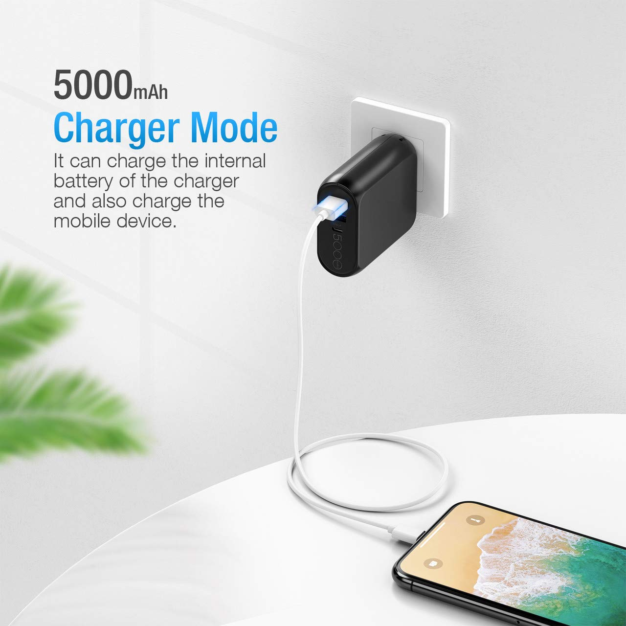 Samsung and More Poweradd EnergyCell AC 5000mAh 2-in-1 Portable Wall Charger and Power Bank Compatible with iPhone Android iPad AC Plug with 5000mAh Capacity