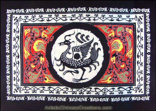 (Chinese Wall Decor / Chinese Folk Art: Large Chinese Batik Wall Hanging - Phoenix)