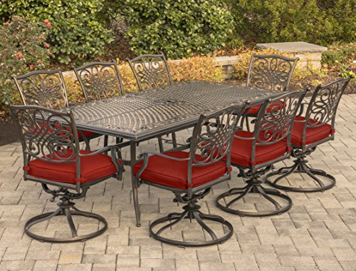 Hanover TRAD9PCSW8-RED Traditions 9-Piece Dining Set, Red
