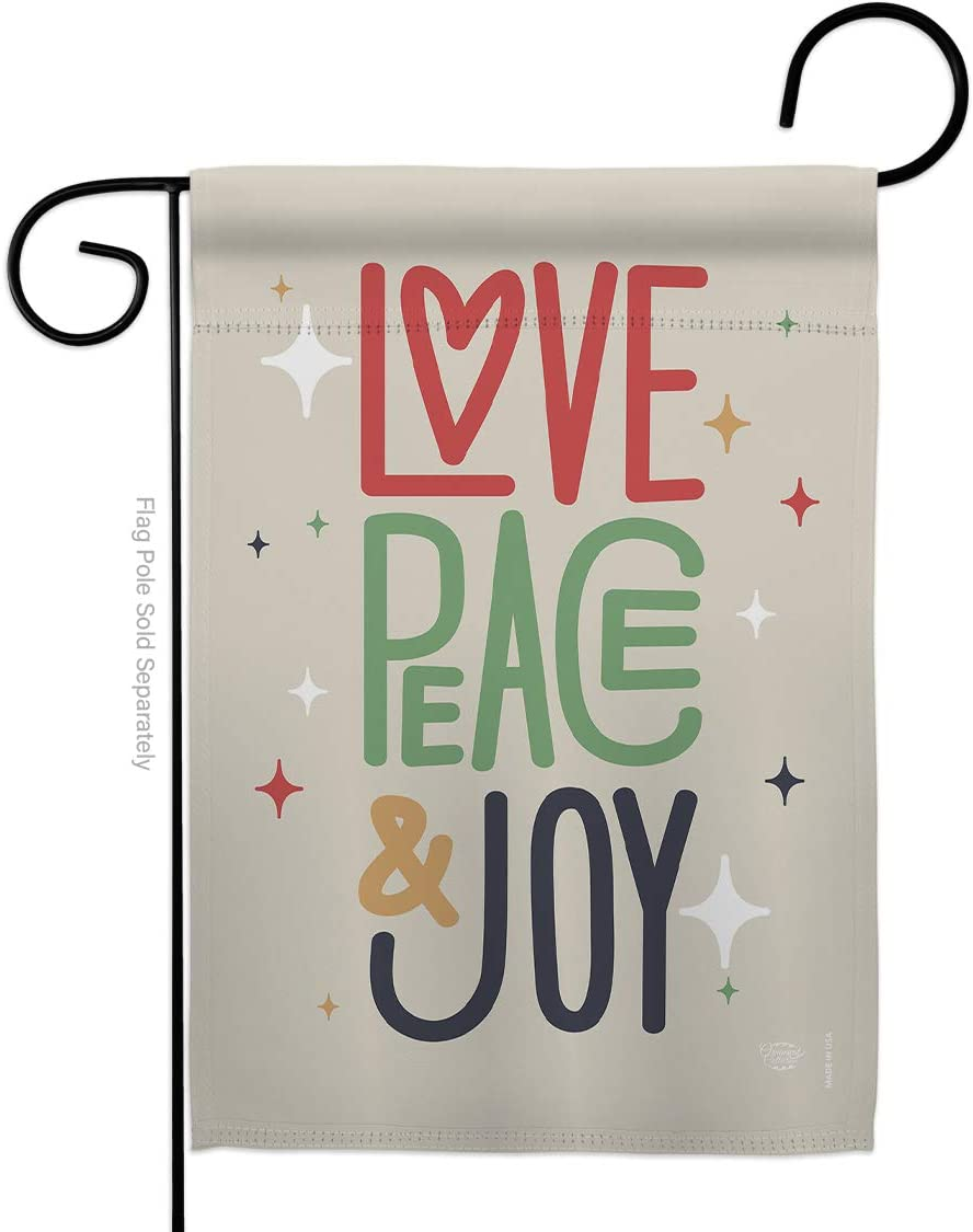 Ornament Collection Love Peace & Joy Garden Flag Winter Christmas Santa Marry Xmas Present Reindeer Season Wintertime Snow House Decoration Banner Small Yard Gift Double-Sided, Made in USA