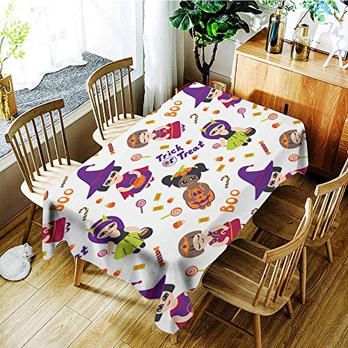 AGONIU Waterproof Table Cover,Halloween Vector Seamless Pattern with Kids in Costumes,High-end Durable Creative Home,W54x72L]()