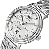 Mens mesh Watch, KESONA Sapphire GlassThin Stainless Steel Classic CalendarWatchWaterproof Casual Mesh Strap (White Dial)