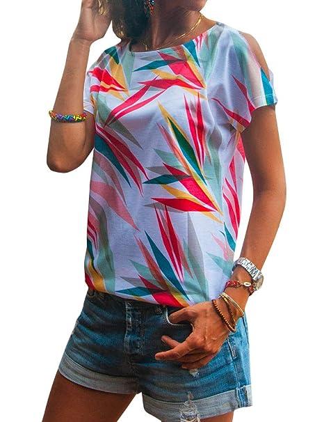 9b74593f99936 Amazon.com  StarVnc Women Stylish Floral Print Color Block T-Shirt Crew  Neck Cut Out Cold Shoulder Tops Shirt  Clothing