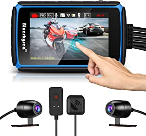 Motorcycle Dash Cam, Blueskysea DV988 1080p 30fps Dual Lens Wide Angle 140 Degree Bike Recording DVR with 4'' IPS Touch Screen Waterproof IP66 32GB Card included Loop Recording with GPS Mode