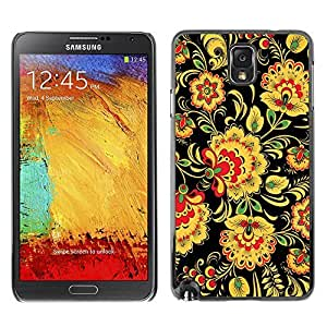 LASTONE PHONE CASE / Slim Protector Hard Shell Cover Case for Samsung Note 3 N9000 N9002 N9005 / Floral Pattern Wallpaper Art Flowers Yellow