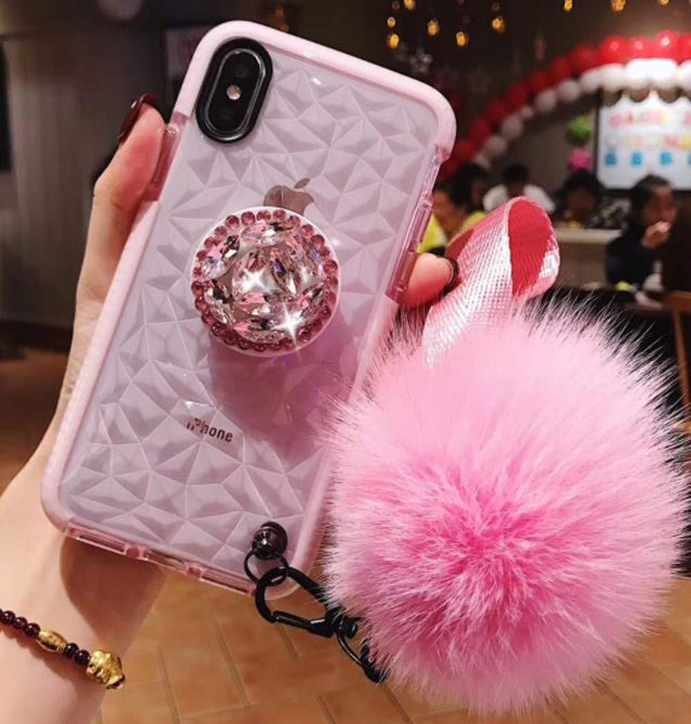 iPhone XS Max Case,Lozeguyc iPhone XS Max 6.5 Inch Clear Crystal TPU Case Bling Diamond Ring Stand Cover Soft Shockproof Furry Ball Strap Case for Girls Women-Pink by Lozeguyc