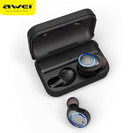 AWEI True - Auriculares inalámbricos T3 Smart TWS con Funda de Carga V5.0 Bluetooth