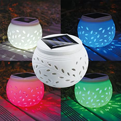 Hinmay - Lámpara solar de cerámica para mesa, luces de ...