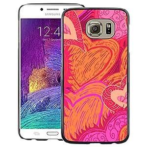A-type Arte & diseño plástico duro Fundas Cover Cubre Hard Case Cover para Samsung Galaxy S6 (Heart Hand Drawn Sun Flames Love Pink)