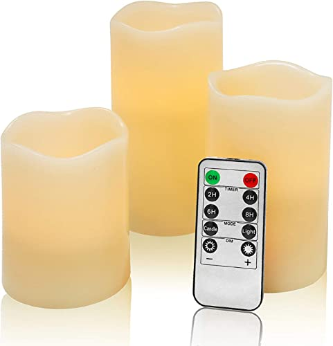 Flameless Flickering LED Battery Candles Set of 3 Ivory Real Wax Pillar Operated Fake Faux Lights with Remote Control and Timer Function Flicker Candle for Decoration Christmas Votive Garden Outdoor