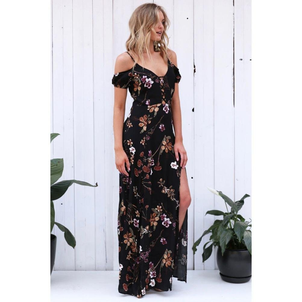 HARRYSTORE Ladies Summer Vintage Boho Long Maxi Evening Party Beach Dress Floral Sundress Lace UP: Amazon.co.uk: Clothing