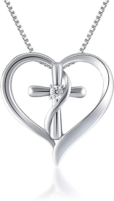 PLATINUM CRYSTAL CROSS AND HEART PENDANT NECKLACE