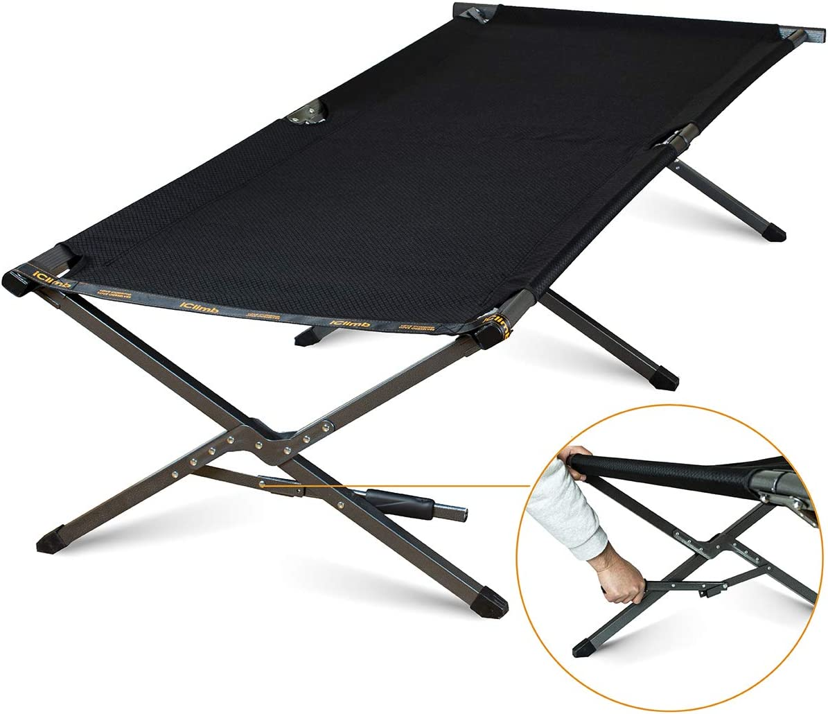 EVER ADVANCED Folding Portable Camping Cot XL Pack-Away Tent Sleeping Cot Bed with Side Pockets Carry Bag and Side Pockets