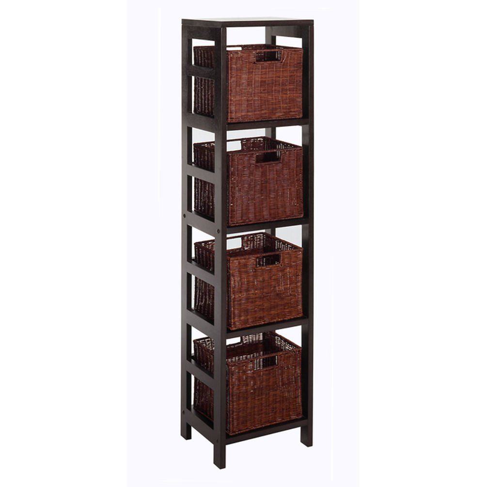 Winsome Wood Leo Wood 4 Tier Storage Shelf with 4 Small Rattan Baskets 92814