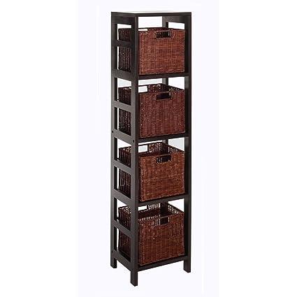 Bon Winsome Wood Leo Wood 4 Tier Storage Shelf With 4 Small Rattan Baskets