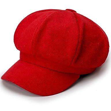 Women Vintage Berets Warm Plain Color Octagonal Hat Newsboy Cap Autumn  Winter (Red) 29d574895925