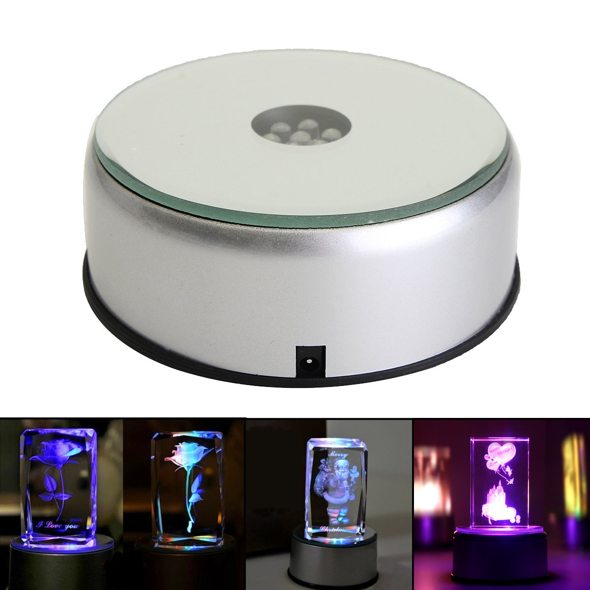 Caveen Display Stand 360 Rotating Turntable 7 Colored LED Light Crystal Display Stand Base Collections Figurine Jewelry Display Stand - Silver