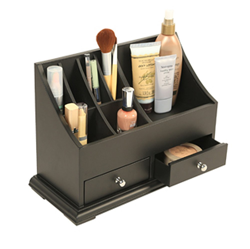 Richards - Personal Cosmetics Counter Top Organizer-Black Wood w/ 2 Drawers
