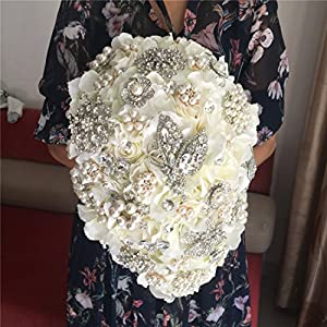 Luxurious Bouquet of flowers for wedding Romantic Rose Flower shiny covered diamond wedding bouquet brooches flower pearl holding bouquet for Bridesmaids bride 101