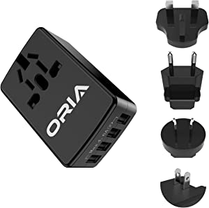 ORIA Universal Wall Charger, 4 USB Ports Travel Adapter, Universal Power Adapter with UK, US, EU, AUS Multi Plugs for Mobile Phone, Tablet, Power Bank, Black
