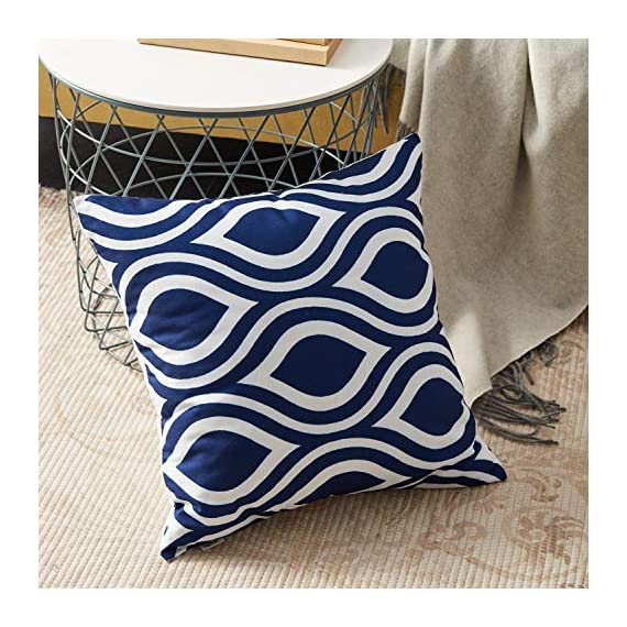 Top Finel Accent Decorative Throw Pillow Covers Durable Canvas Outdoor Throw Pillow Covers 20 X 20 for Couch Bedroom, Set of 6, Navy - SUPER PLUSH MATERIAL & SIZE: Made of durable canvas, comfortable to touch and lay on. 20 X 20 Inch per pack, included 6 packs per set, NO PILLOW INSERTS. WORKMANSHIP: Delicate hidden zipper closure was designed to meet an elegant look. Tight zigzag over-lock stitches to avoid fraying and ripping. NO PECULIAR SMELL: Because of using environmental and high quality canvas fabric,our throw pillow cases are the perfect choice for those suffering from asthma, allergen, and other respiratory issues. - patio, outdoor-throw-pillows, outdoor-decor - 61vMAAr91 L. SS570  -