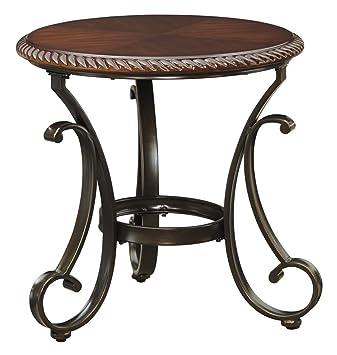 ashley gambrey round end table in reddish brown