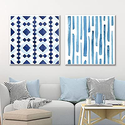 2 Panel Square Canvas Wall Art - Abstract Blue Patterns - Giclee Print Gallery Wrap Modern Home Art Ready to Hang - 24