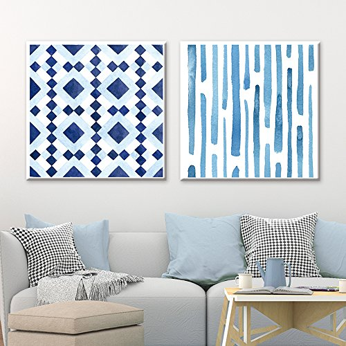 2 Panel Square Abstract Blue Patterns x 2 Panels