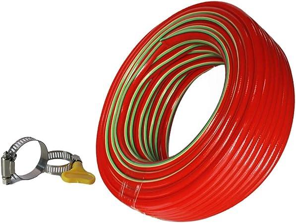 Manguera de Jardín HAIYU 18 mm Tubería de Manguera de Agua de PVC Flexible, Estructura de 5 Capas, Manguera de Lavado de Autos de 3/4 Pulgadas con Abrazadera Fija, Rojo: Amazon.es: Hogar