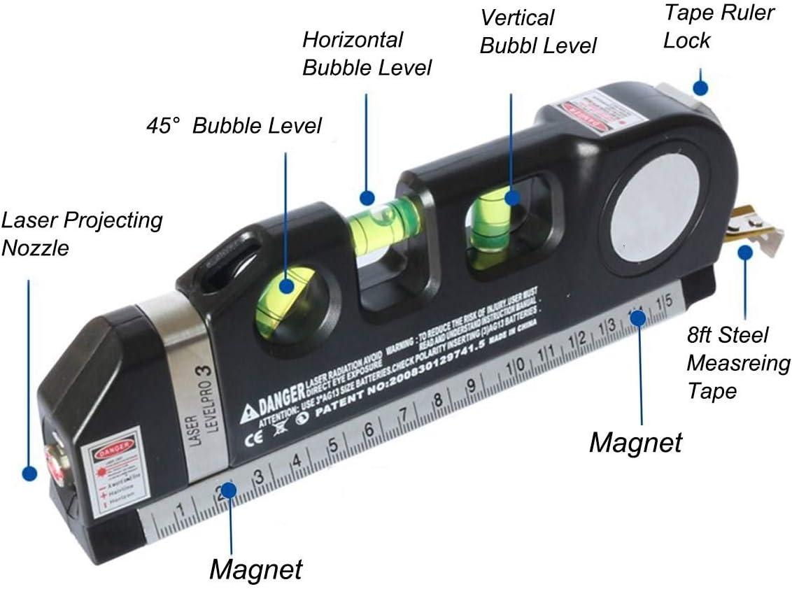 SFASTER tr/ípode de metal retr/áctil y abrazadera Medici/ón de nivel l/áser multiusos con soporte de tr/ípode negro de 2,4 m para cinta m/étrica de 3,5 m de nivel est/ándar y cinta m/étrica con regla