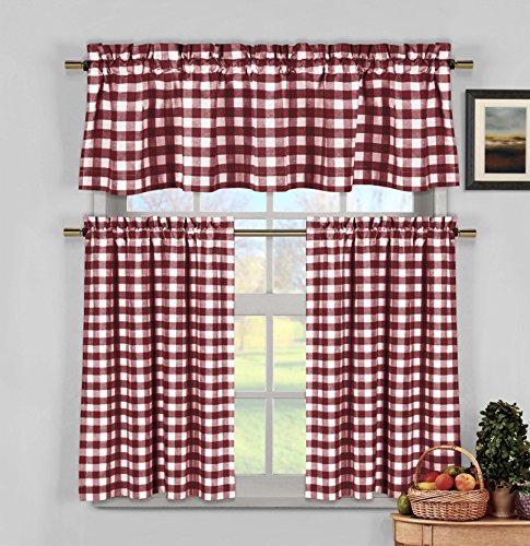 Curtain Panels Red Gingham (3 Piece Plaid, Checkered, Gingham 35% Cotton Kitchen Curtain Set with 1 Valance and 2 Tier Panels (Wine))
