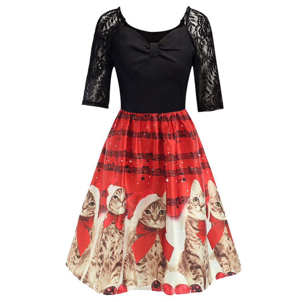 Women Christmas Lace Dress Ladies Half Sleeve Cats Musical Notes Print Patchwork Flare Dress Retro Evening Party Dress Size 6-14