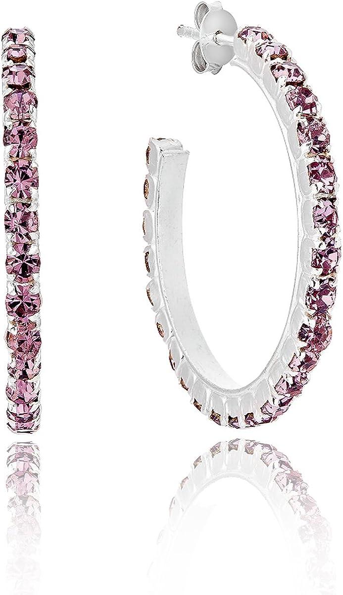 DTPsilver – Pendientes de mujer medio aro de plata fina 925 con cristales de Swarovski Elements – Color amatista – Cierre de clavo