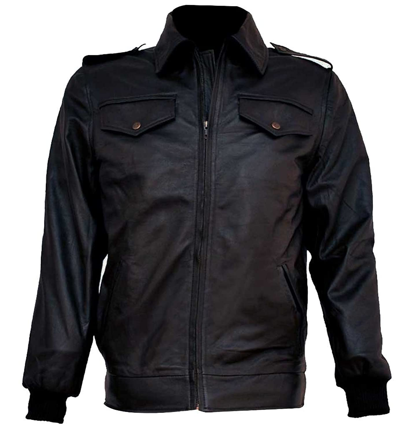 Chris Evans The Avengers Steve Rogers Mens Stylish Black Faux Leather Jacket
