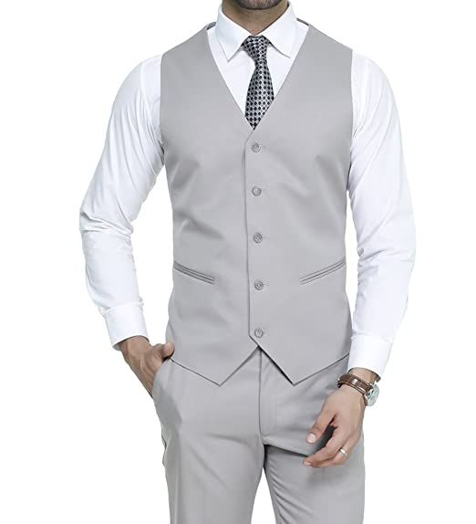 b12e72740d MANQ Men's Blended Fabric V Neck 5 Button Slim Fit Formal/Party Waist Coat (