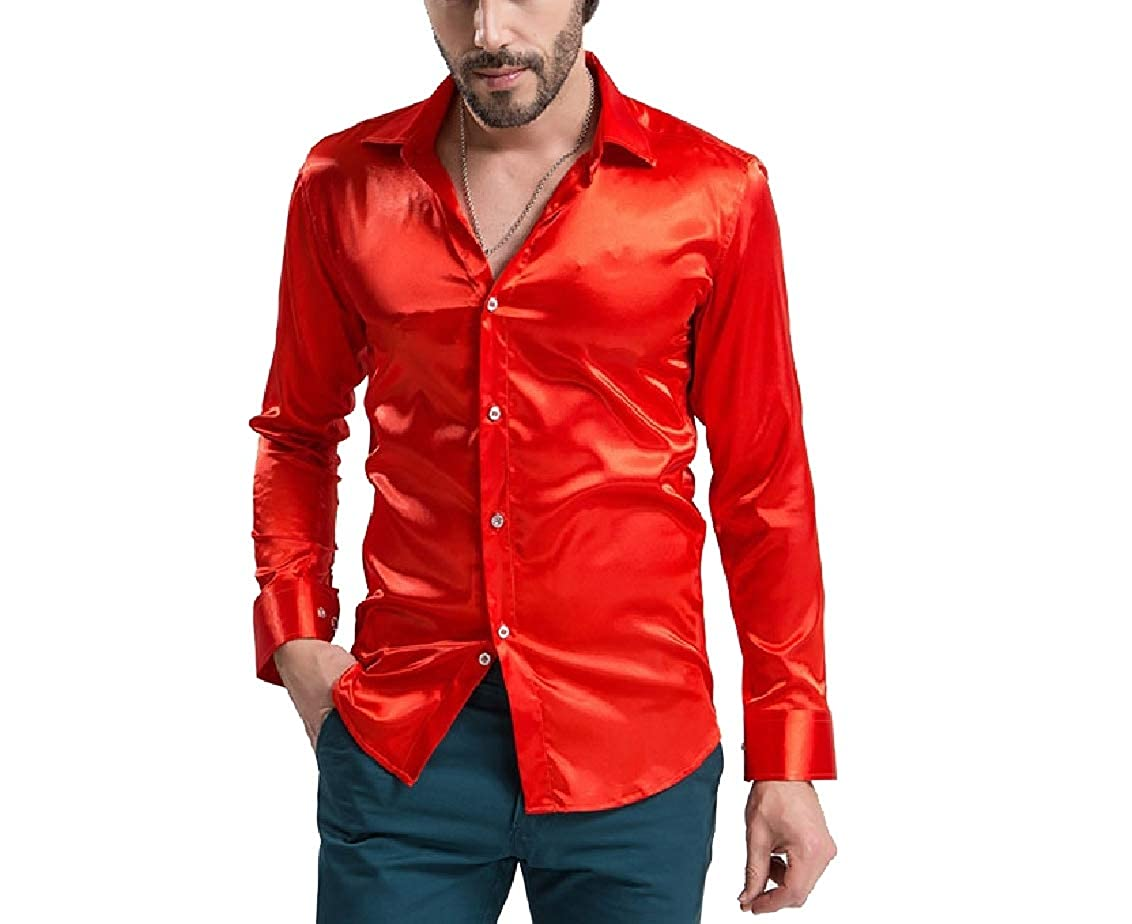 Freely Mens Charmeuse Bright Color Oversize Luxury Tshirt Shirt