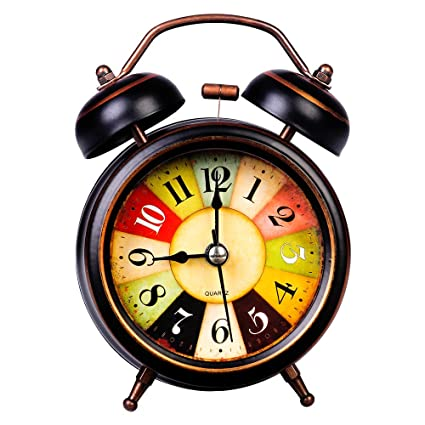 Silent Non Ticking Analog Alarm Clock Classic Bedroom Bedside Battery Operated