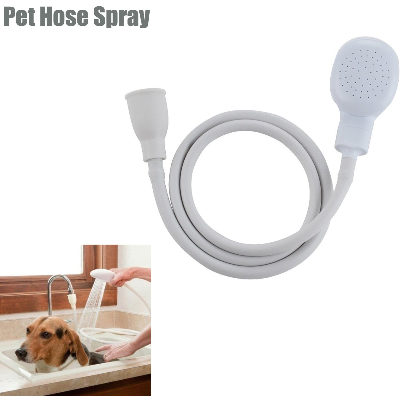 Fashionclubs Pet Dog Cat Shower Sprayer Faucet-to-Shower Converter Puppy Bath Handheld Showerhead With 1.1M/43Inch Hose