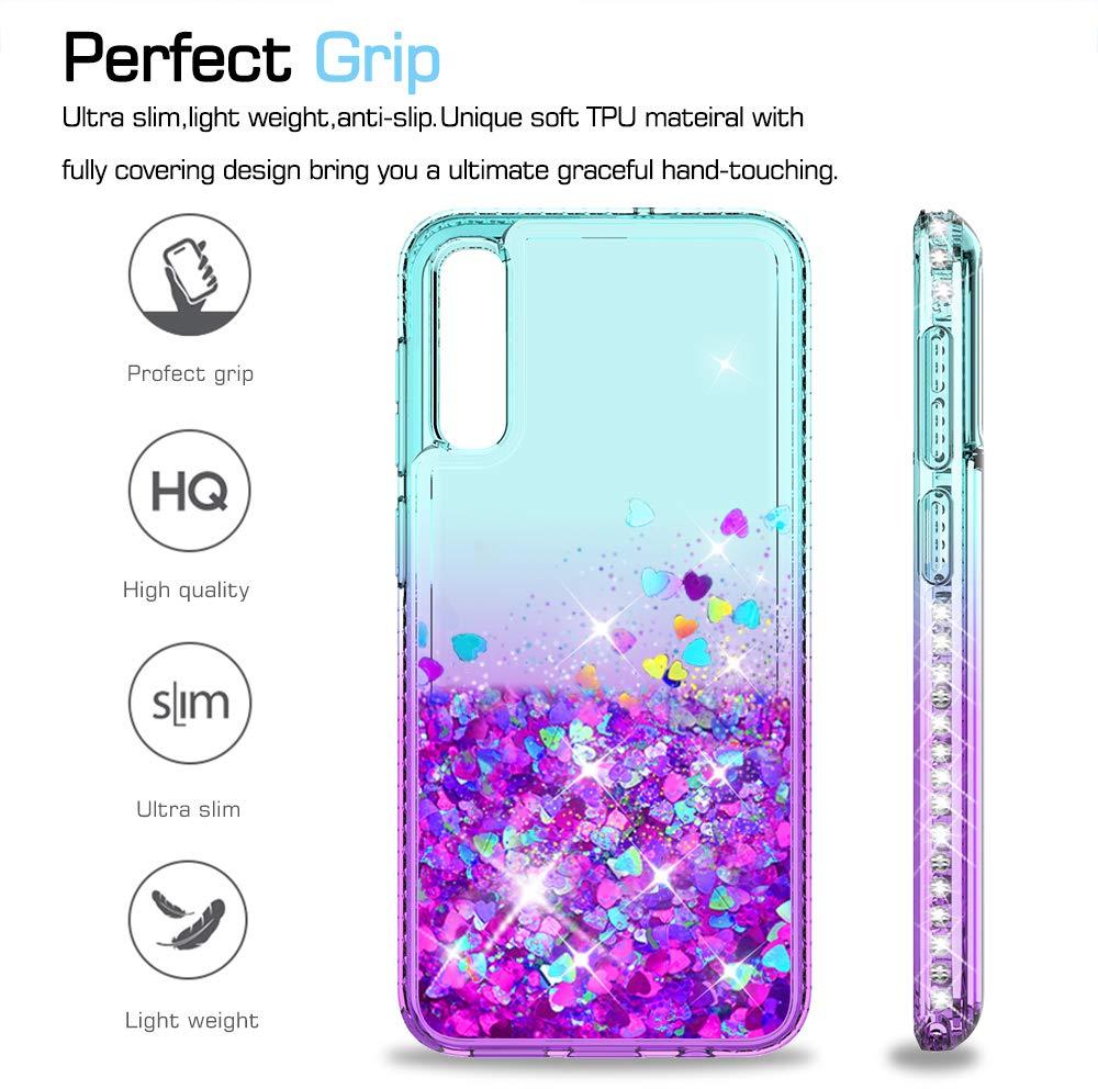 LeYi Compatible con Funda Samsung Galaxy A50 Silicona Purpurina Carcasa con HD Protectores de Pantalla Transparente Cristal Bumper Telefono Gel TPU Fundas Case Cover para Movil A50 ZX Verde