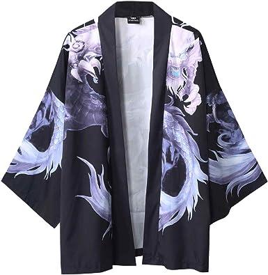 SoonerQuicker Camisa de Hombre Blusa con Mangas japonesas de Cinco Puntos de Kimono para Hombre y para Mujer T Shirt tee Blusa: Amazon.es: Ropa y accesorios