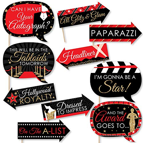 Funny Red Carpet Hollywood - Movie Night Party Photo Booth Props Kit - 10 Piece