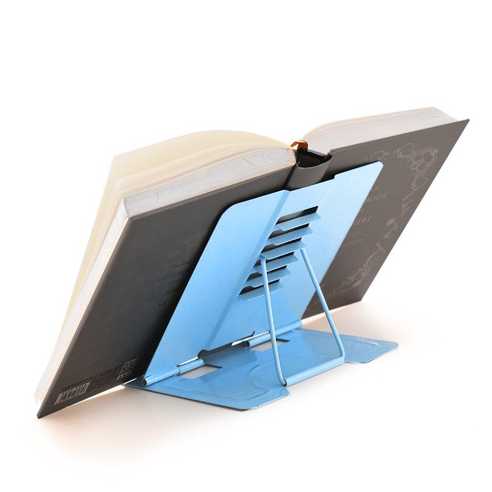 Reading Bookstand Book Holder, Kicpot Adjustable and Portable Reading Book Stand Document Holder (Iron Blue) by Kicpot (Image #5)