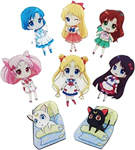 8 Fridge Magnets with Chibi Figures for Anime
