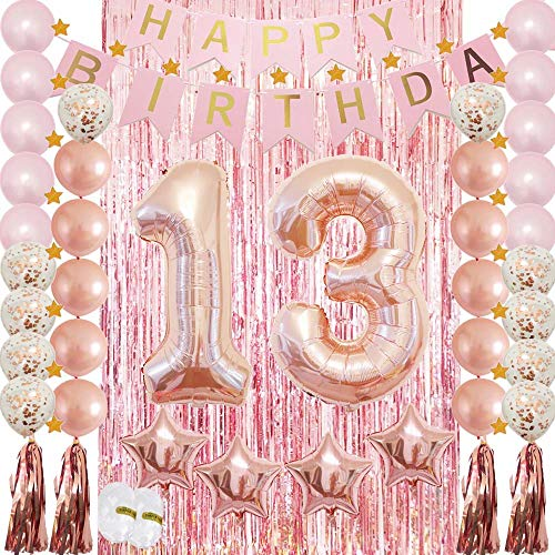 13th Birthday Decorations Rose Gold|13 Birthday Party Supplies for Girls-Confetti Latex Balloon,Foil Mylar Star,Tassel Garland,Tinsel Foil Fringe Curtains,Happy Birthday Banner as Photo Props,Gift ()