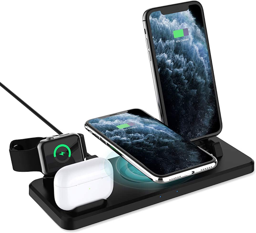 Wireless Charging Station for iPhone and Android- 6 in 1 qi-Certified Enable Fast Multifunction Wireless Charger Stand Dock Compatible with Apple Watch, Earbuds, iPhones, Galaxy, LG, Google, Huawei